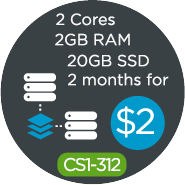 2 Cores, 2GB, 2 Months for $2 - A great deal!