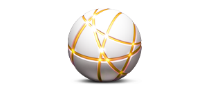 3d white ball with orange lines with highlights